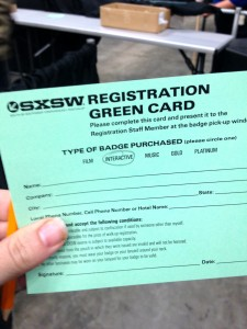 sxsw registration card